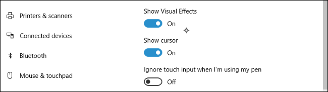 option écran tactile windows 10